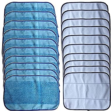 DerBlue 20-Pack Mixed Microfiber Mopping Cloths 10 wet + 10 dry for iRobot Braava 380 380t 320 Mint 4200 4205 5200 5200C Vacuum Cleaner