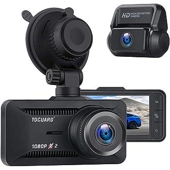 TOGUARD ドライブレコーダー 前後カメラ 小型 ドラレコ 前後 1080P GPS機能【オプション】 170度超広角 前後1080PフルHD 3インチディスプレイ 高画質 Gセンサー搭載 駐車監視 衝突録画 常時録画 WDR/HDR機能搭載 ループ録画 128GBまで対応 18ヶ月メーカー保証