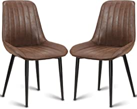 Costway Dining Side Chair, Modern Accent Armless Comfortable Padded Velvet Seat Back Dining Chairs Bar Height Dining Living Kitchen Pub Bistro Chairs, Brown (2 Dining Chairs)