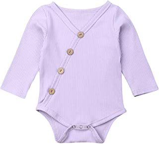 Seyurigaoka Newborn Unisex Baby Organic Cotton Bodysuit- Basic Plain Rib Stitch Long Sleeve Infant Solid Onesie