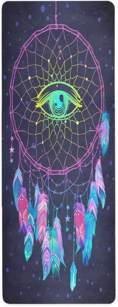 ALAZA Wholesale Watercolor Dream Catcher with New product! New type Owl Non Slip Yoga Mat Fitnes