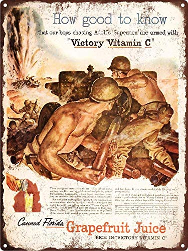 Victory Vitamina C L'Arte Pittura su Ferro Targa in Metallo Targa in Metallo Decorazione murale in Metallo Poster Regali per Office Garage Bar