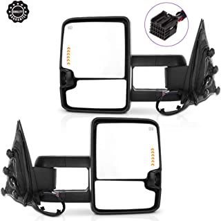 INEEDUP Towing Mirrors Fit for 2014-2017 Chevy Silverado/GMC Sierra 1500 Chevy Silverado/GMC Sierra 2500/3500 HD Tow Mirrors with Driver and Passenger Side Power Heated with Turn Signal Light Black