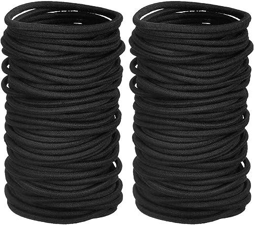 Ealicere 80 Pièces 4 mm Cheveux Élastiques Cravates, bandeaux noirs sans métal,bandeau élastique pour porte-queues de...