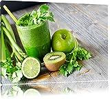 Grüner BIO Smoothie Apfel Limette Kiwi Format: 80x60 auf Leinwand, XXL riesige Bilder fertig...