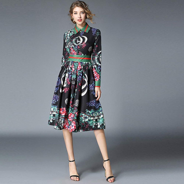Cxlyq Dresses Printed Large Waist and Long Sleeves Dress