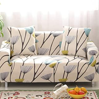 Jaoul All Cover Printing Elegant Floral High Stretch Couch Sofa Slipcover Furniture Protector with Two Pillow Cases, Dandelion, Sofa-4 Seater