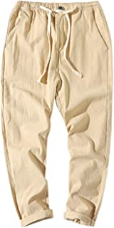 Elonglin Men's Casual Trousers Cotton and Linen Blend Lightweight Elasticated Waist Drawstring Cropped Pants with Pockets