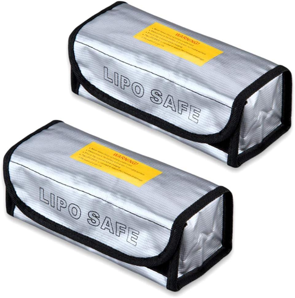 Nuluxi Bolsa de Batería Lipo Ignífuga Seguridad Protectora Lipo Batería Bolsa Bolsa de Lipo Batería Guardia Ignífuga y Segura Utilizado para Cargar, Almacenar y Protección la batería de Litio-2 Piezas