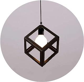 Vintage Industrial Colgante Iluminación Retro Lámparas de Techo Metal Colgante de Luz, Cubo Iluminación Colgando Pantalla de la Lámpara Para la Cocina Loft Restaurante Coffee (Negro, E27 Base)