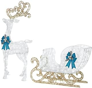 Home Accents Holiday 65 in. LED Lighted White Reindeer and 46 in. LED Lighted White Sleigh with Blue Bows (1)
