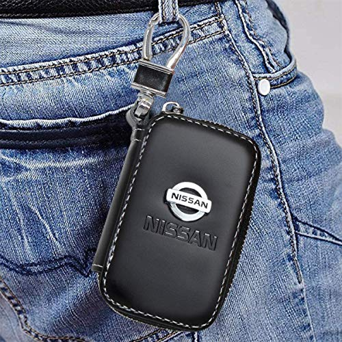 Tsisun Key Fob Cover Case for Nissan,Genuine Leather Car Smart Key Chain Metal Hook and Keyring Zipper Bag for Remote Key Fob…
