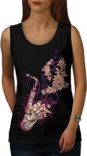 wellcoda Saxophone Jazzy Womens Tank Top, Instrument Active Sports Shirt