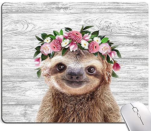 Sloth with Flowers Mouse Pad, Cute Animal Mouse Pad, Wood Background Mouse Pad, Mouse Mat Square Waterproof Mouse Pad Non-Slip Rubber Base MousePads for Office Home Laptop Travel, 9.5'x7.9'x0.12' Inch