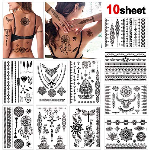 Konsait 10 Sheets Henna Temporary Tattoo Black Art Stickers Lace Mehndi Body Transfers Tattoo for Women Adult Girls for Festival Party