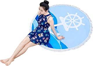 Anchor Blue Round Beach Towel Terry Cloth with Tassels Over-Sized Circle Blanket