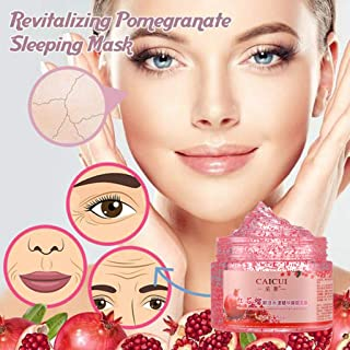 Simplylin Revitalizing Pomegranate Sleeping Mask Brightening Skin Nutrition Repair Skin,Red Mink Essence Sleep Moisturizing and Washing