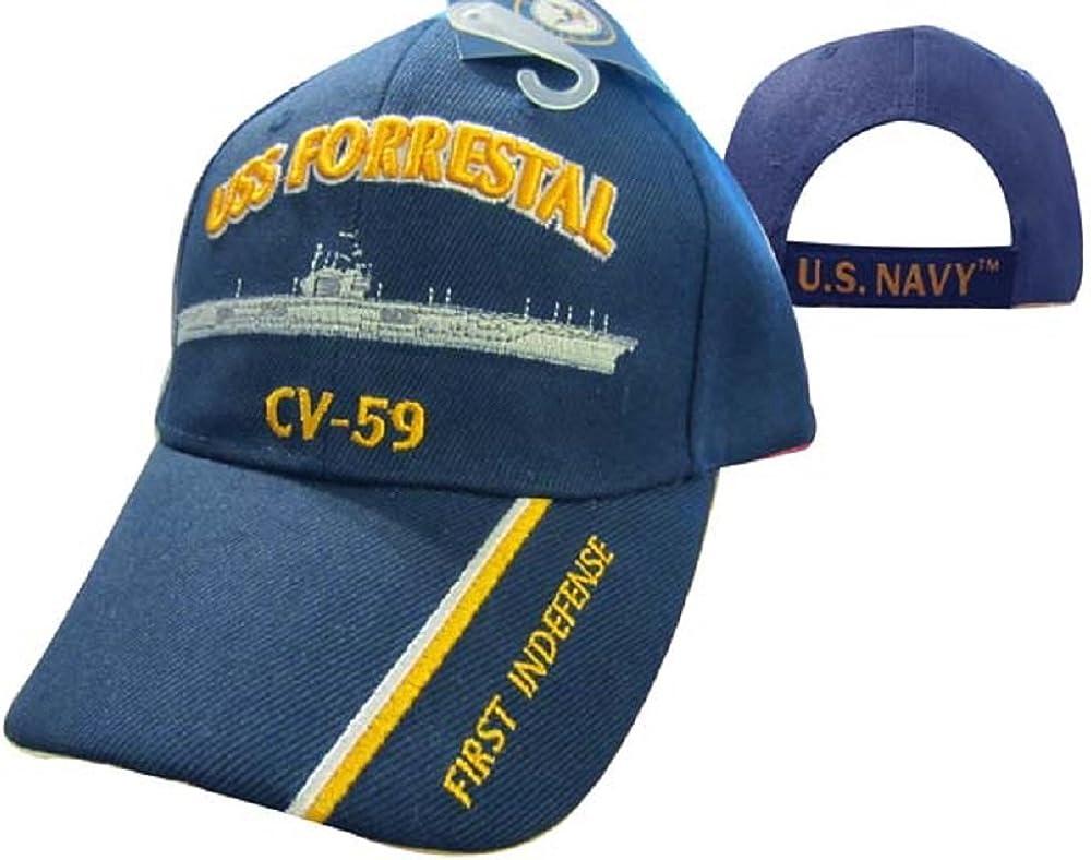 AES U.S. Navy USS Forrestal CV-59 First Indefense Embroidered Ball Cap Hat 550G