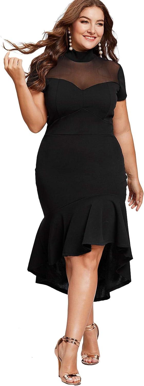 Milumia Women's Plus Size Elegant Mesh Frill Ruffle Round Neck Pencil Party Cocktail Dress
