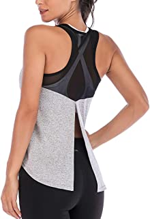 DREAM SLIM Tie Back Tank Tops for Women Cute Crop Mesh Sleeveless Racerback Yoga Shirts