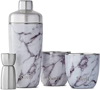 S'well 12000-B18-00910 Cocktail Kit Marble, Stainless Steel, White Mable