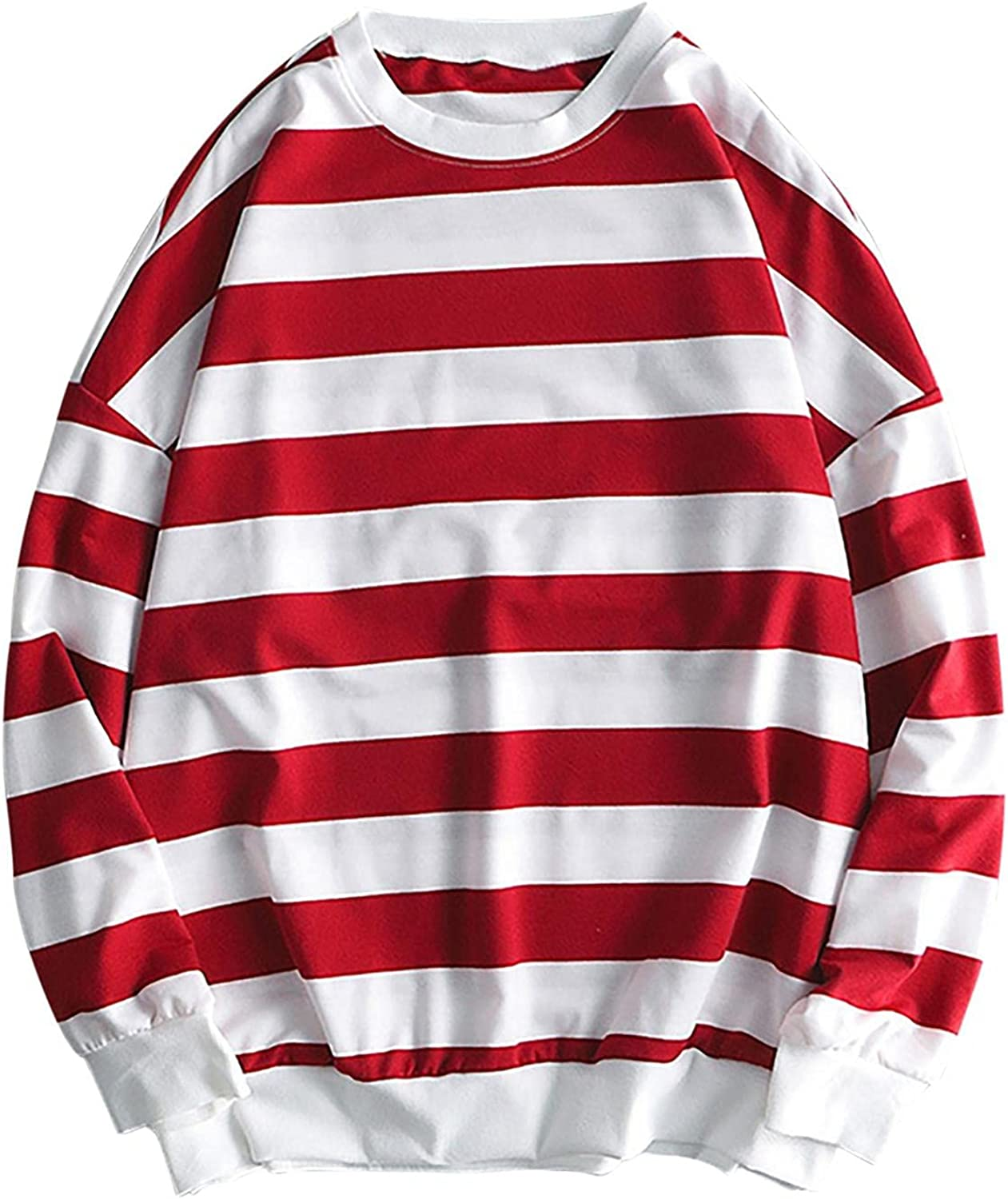 Womens Blouses Crew Neck Color Stripe Tops Oversized Fashion Casual Loose Pullover Long Sleeve Daily Sweatshirt