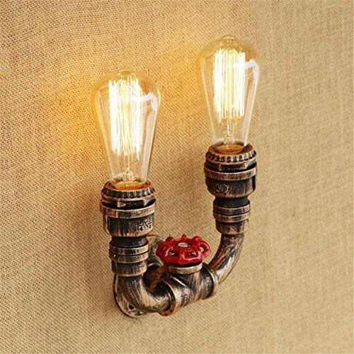 NIHE Loft Industrial 2 feux de fer rouille Tuyau d'eau lampe murale rétro Vintage E27 lumières appliques pour salon chambre restaurant bar applique murale, 002