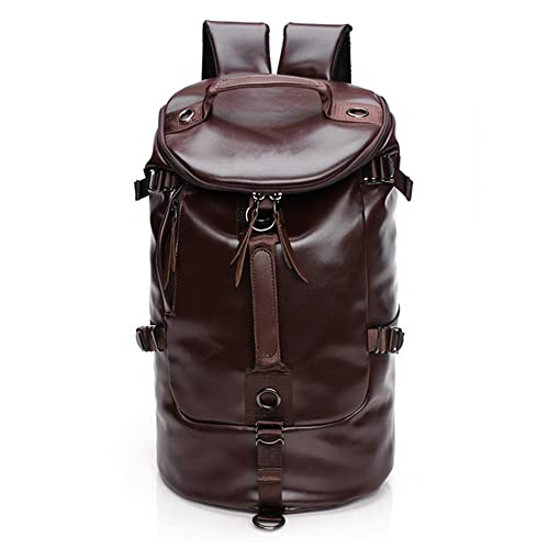 71584ad67f Mens Leather Gym Bag Backpack Weekender Overnight Travel Duffle Tot  Crossbody Shoulder School Bag (COFFEE