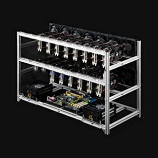 Mineriggram för 16GPU, stål Open Air Miner Mining Frame Rig Case, stöd för dubbel strömförsörjning för kryptomyntvaluta Bi...