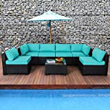 Valita 7 Piece Outdoor PE Wicker Furniture Set, Patio Black Rattan Sectional Sofa Couch with Washable Turquoise Cushions