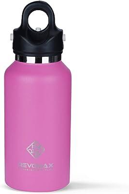 RevoMax V2 ツイストフリー/ねじ込み不要 真空断熱ウォーターボトル ワンクリック開閉蓋付き 36時間冷たさをキープ 標準口 12 OZ ピンク