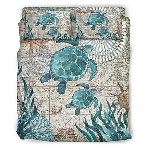 Viiry Juego de cama de 4 piezas, diseño de tortuga marina, color blanco, 228 x 264 cm