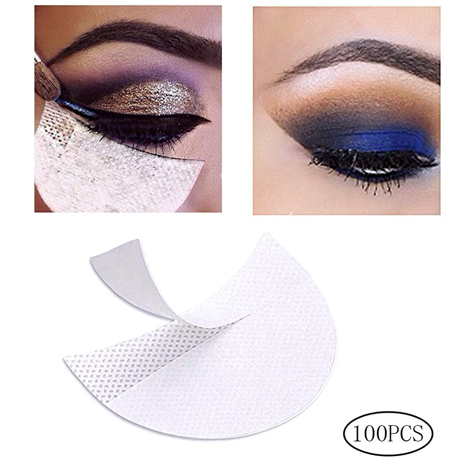 100 Pcs Eyeshadow Pads Stencils, Color Scissor Professional Eyeshadow Shield Lint Free Under Eye Eyeshadow Gel Pad Patches For Eyelash Extensions and Makeup Supplies