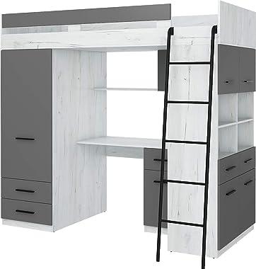 Lit Mezzanine avec Bureau, Tiroirs, Armoire et Bibliothèque – Level Droit – (Craft Blanc/Graphite)