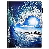 IKASEFU Compatible with Huawei MediaPad M5 10.8 Case Cute Painted Pu Leather Wallet Strap Case With Card Holder Cover Magnetic Shockproof Kickstand Protective Folio Flip Book Case Ocean waves