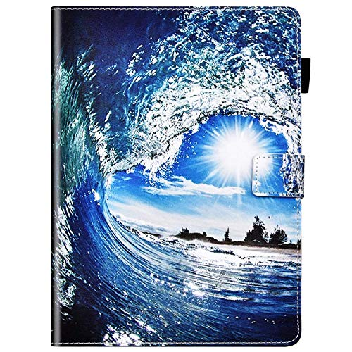 IKASEFU Compatible with Amazon Kindle paperwhite 1/2/3/4 Case Cute Painted Pu Leather Wallet Strap Case With Card Holder Smart-shell Cover with Auto Sleep/Wake Function Flip Case Ocean waves