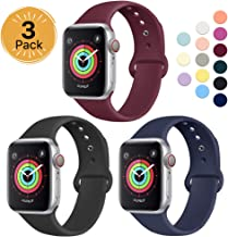 Sport Band Compatible for Apple Watch Band 38mm 40mm 42mm 44mm, EXCHAR Soft Silicone Band Replacement Wrist Strap for iWatch Series 5/4/3/2/1, Nike+, Sport, Edition