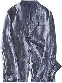 Mens Linen Blazer Jacket Coat Slim Fit Cotton Blend Pocket Solid Long Sleeve Thin Suits Coat Goosun 2 Button Breathable Li...