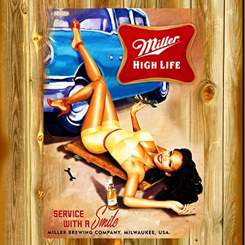 12 x 12 Inch Wood Sign Miller High Life Beer Retro Advertising