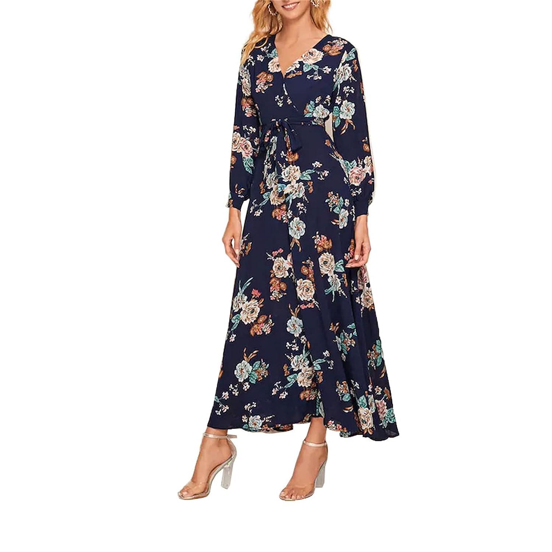 Women's V Neck Wrap Long Sleeve Dress Fall Belted Flowy Midi Long Dresses Floral Printed Vintage Dress (XX-Large,Dark blue)
