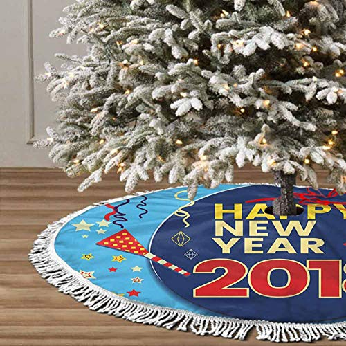 Christmas Tree Skirt, 48 inches Christmas Decoration Fringed Lace (Happy New Year) for Christmas Decorations for Xmas Party and Holiday Decorations