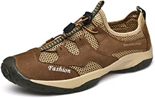 2019 Men lace-ups Flats, Climbing Shoes for Men Sport Shoes Mesh Vamp Lace Up Round Toe Durable Comfortable Lightweight Leather Breathable Casual Lightweight Waterproof