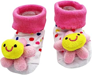 KIRALOVE, Calcetines antideslizantes para niños - calcetines para recién nacidos - 0/12 meses - fantasía - flor de lunares blancos - hombre - mujer - unisex - idea de regalo para niños pequeños