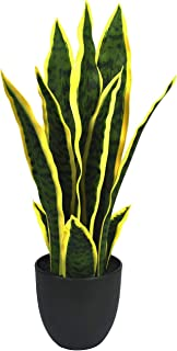 Artificial Plants Sansevieria Snake Mini Plant with Black Plastic Planter Greenery Perfect Faux Agave Fake Plants in Pot for Home Office Indoor and Outdoo Décor (17.3