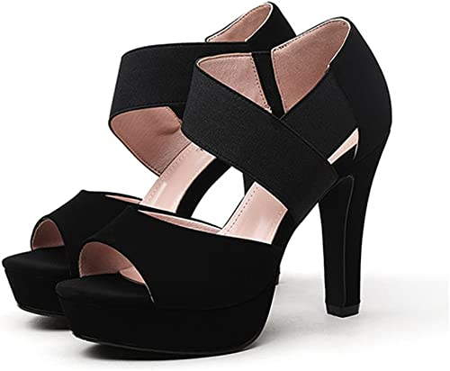 Meng Wei Shop Neue Sommer Frühling High Heels einzelne Schuhe Sandalen Mode Damenschuhe (hoch 11cm) (Farbe   schwarz, Größe   35)