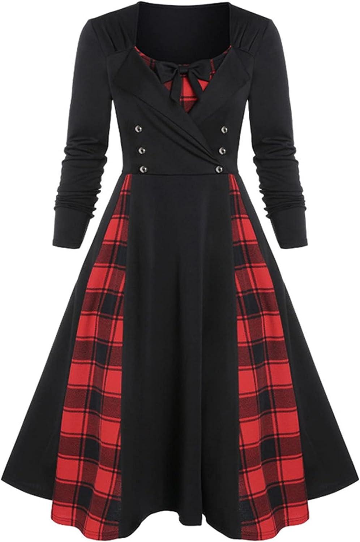 TIMIFIS Womens Midi Dress for Halloween Long Sleeve Sundresses Casual Button Bow Dress Fashion Plain Evening Dress