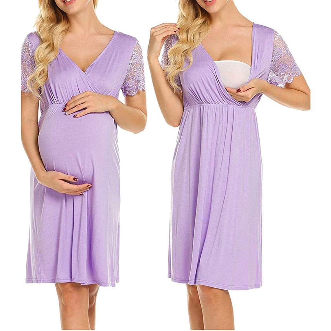 Sttech1 Womens Labor/delivery/Nursing Hospital Gown Maternity Lace Short Sleeve Sleep Dress