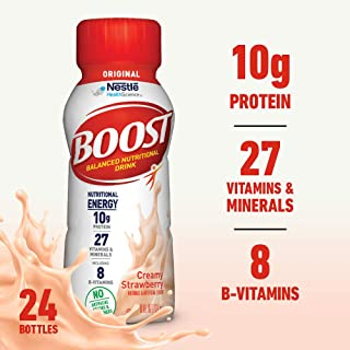 Boost Original Complete Nutritional Drink, Creamy Strawberry, 8 Fl Oz Bottle, 24 Count (Packaging May Vary)