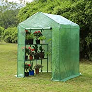 """Erommy 56"""" W x 56"""" D x 77"""" H Mini Walk-in Greenhouse,Indoor Outdoor Plant Gardening, 2 Tier 4 Shelves Hot House for Flowers, Plants and Vegetables,Green"""