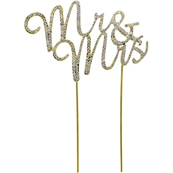 With Crystal Rhinestones- By Lemon Sherbet Cake Designs Wedding Cake Topper Gold Mr and Mrs